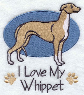 I Love My Whippet dog machine embroidery design.