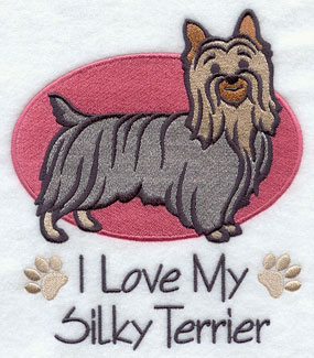 """I Love My Silky Terrier"" dog machine embroidery design."