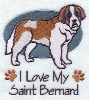 I Love My Saint Bernard dog machine embroidery design.