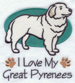 I Love My Great Pyrenees dog machine embroidery design.