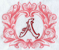Machine embroidery grand flourish alphabet.