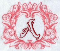 Machine embroidery grand flourish alphabet.