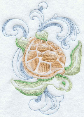 A baroque sea turtle machine embroidery design.