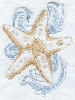 A baroque starfish machine embroidery design.