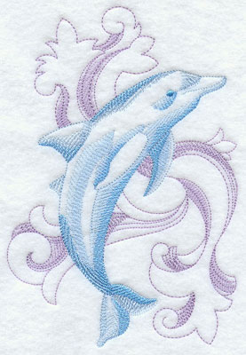 A baroque bottle-nosed dolphin machine embroidery design.