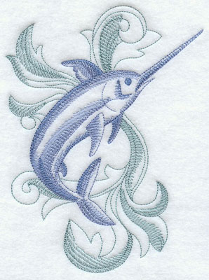 A baroque swordfish machine embroidery design.