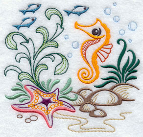 A seahorse and starfish ocean vignette machine embroidery design.