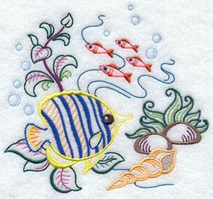 Fish swim under the ocean machine embroidery design.