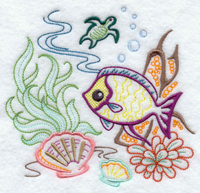 Fish swimming under the ocean machine embroidery design.