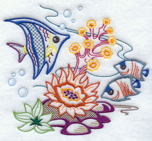 Angelfish swimming under the ocean machine embroidery design.