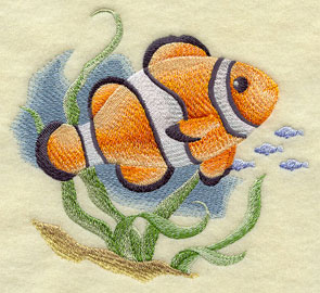 A clownfish machine embroidery design.