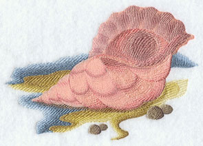 A conch shell machine embroidery design.