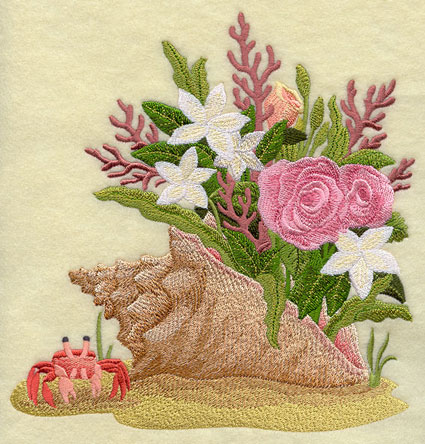 Fresh flowers blooming from a seashell machine embroidery design.