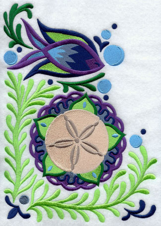 Suzani machine embroidery designs with marine motifs.