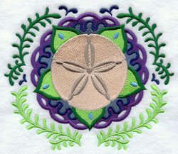 A Suzani machine embroidery design circle design with a sand dollar center.
