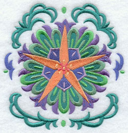 A beautiful star circle Suzani machine embroidery design.