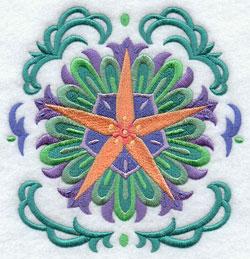 A beautiful star circle Suzani machine embroidery design.