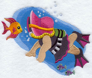 Sunbonnet Sue goes scuba diving in the ocean machine embroidery design.