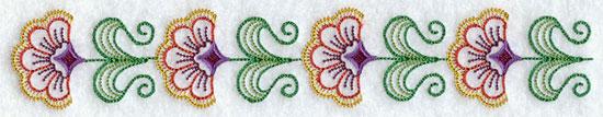 A quick stitching machine embroidery design border.