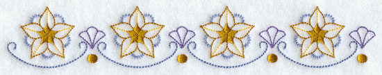 A quick stitching machine embroidery design border with stars.