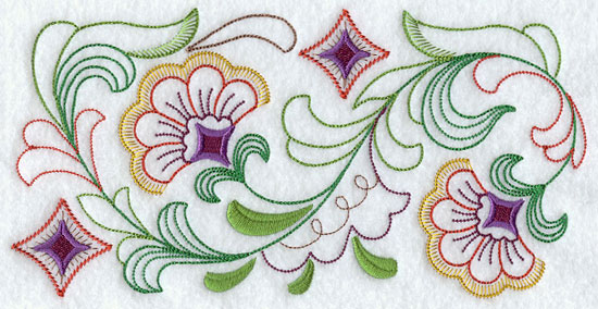 A quick stitching machine embroidery design border.