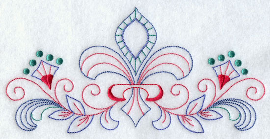 A quick stitching fleur-de-lis and filigree machine embroidery design border.