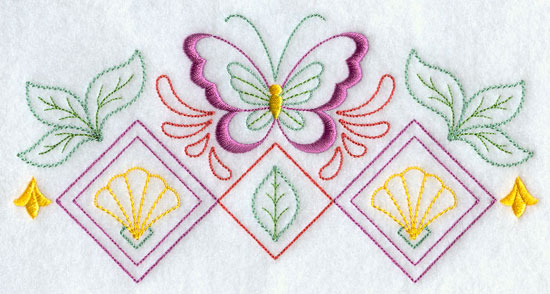 A quick stitching butterfly and diamond machine embroidery design border.