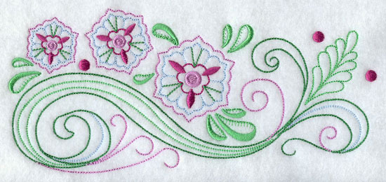 A quick stitching floral machine embroidery design border.