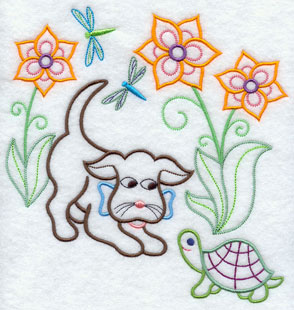 A light-stitching Gingham Dog machine embroidery design.