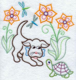 A light-stitching Gingham Dog machine embroidery design.