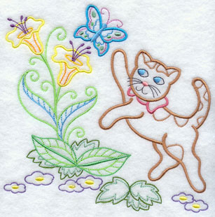 A light-stitching Calico Cat machine embroidery design.