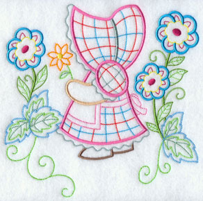 A light-stitching Sunbonnet Sue machine embroidery design.