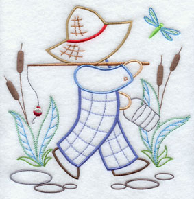 A light-stitching Fisherman Fred machine embroidery design.