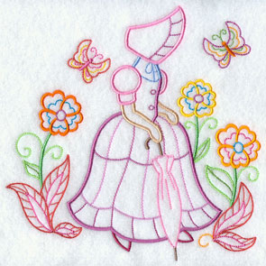 A light-stitching Umbrella Girl machine embroidery design.