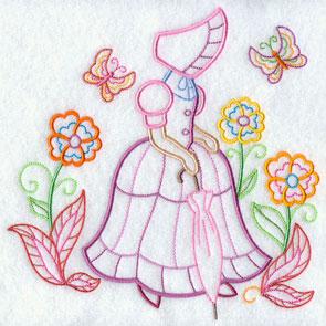 A light-stitching Umbrella Girl machine embroidery design.
