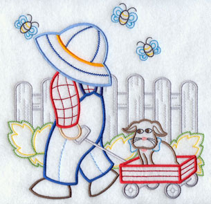 A light-stitching Suspender Sam machine embroidery design.