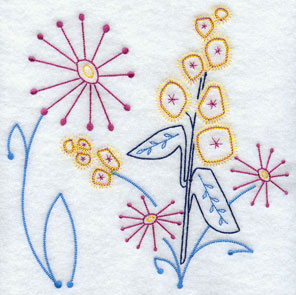 Quick stitch floral machine embroidery design.