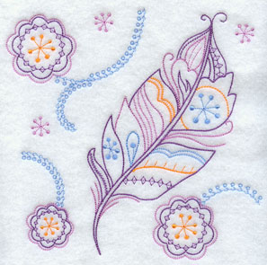Quick stitch flower and feather machine embroidery design.