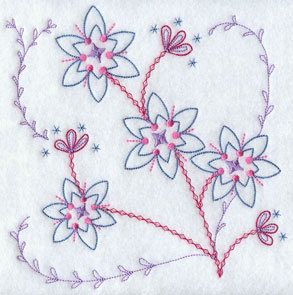 A quick stitch machine embroidery design with flowers.