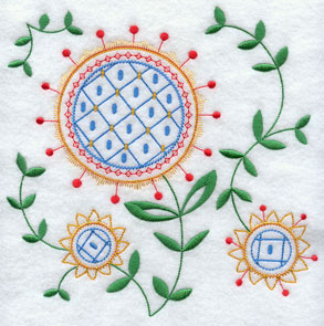 A light and airy floral machine embroidery design.