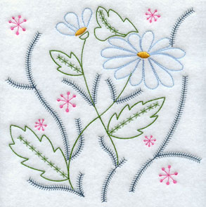 A light stitching flower machine embroidery design.