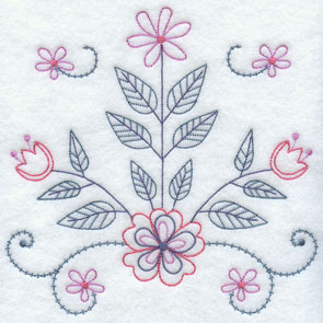 Light and airy flowers and leaves machine embroidery design.