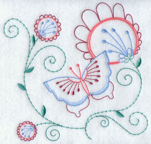 A light stitching butterfly and floral machine embroidery design.