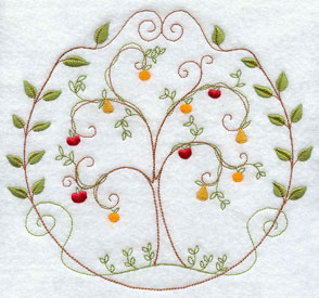 A quick stitch fruit tree machine embroidery design circle.