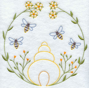 A quick stitch bees and beehive machine embroidery design.