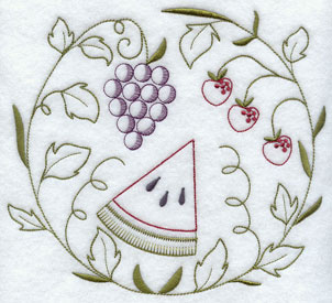 A quick stitch circle machine embroidery design with fruit.