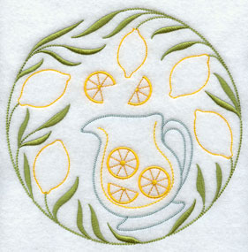 A quick stitch circle machine embroidery design with lemons and a pitcher of lemonade.