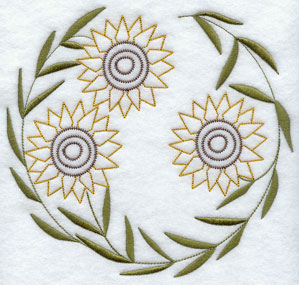 A quick stitch circle machine embroidery design with sunflowers.