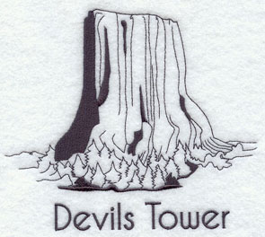 A quick-stitching machine embroidery design of Devil's Tower.
