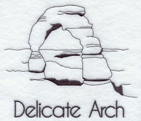 A quick-stitching machine embroidery design of the Delicate Arch.
